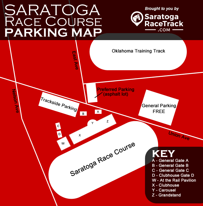 saratoga race course parking map infographic