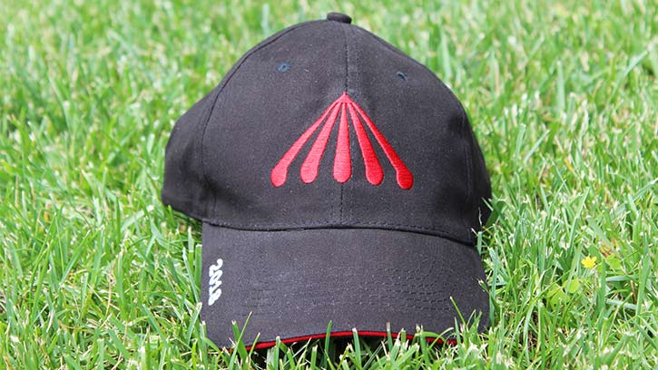 black baseball cap with saratoga race course logo