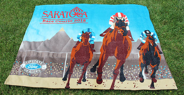 race course blanket showing horses racing