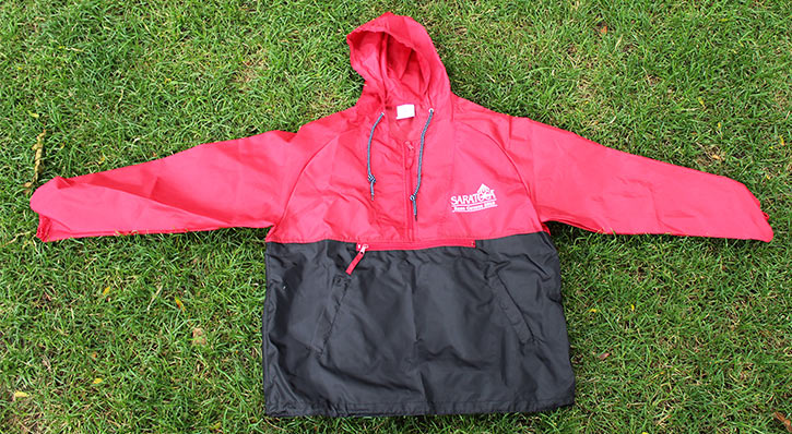 red and black saratoga race course windbreaker