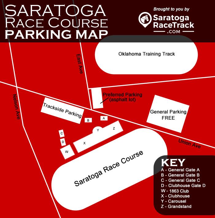 saratoga race course parking map infographic with text description below