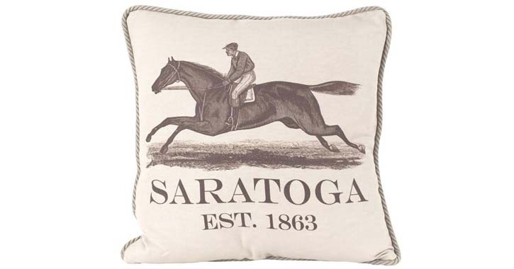 a saratoga horse racing pillow