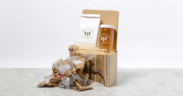 gift basket of tea and honey