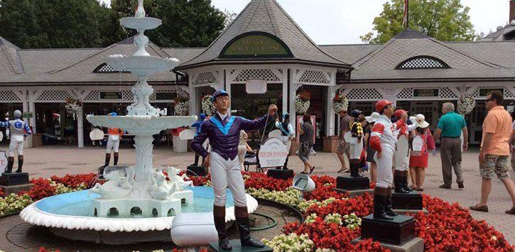entrance fountain at racetrackl