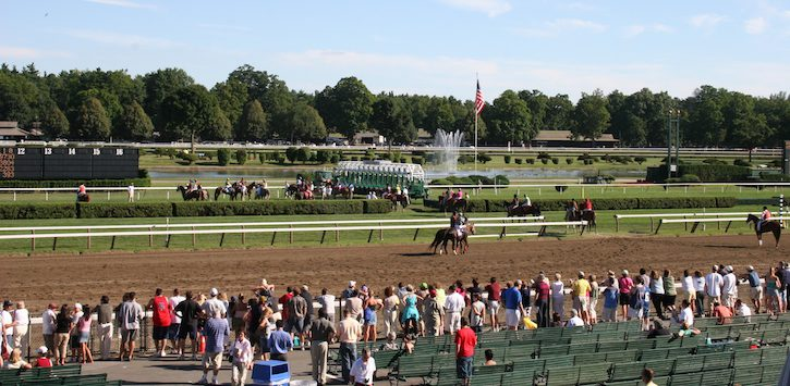 Saratoga racetrack and flag