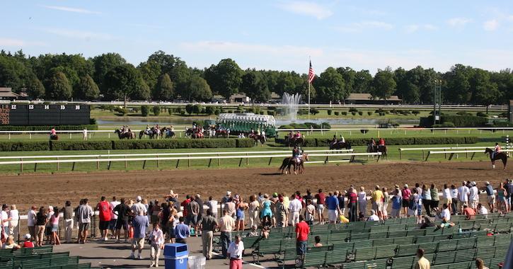Saratoga racetrack and flag