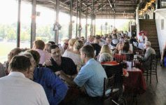people dining at the track