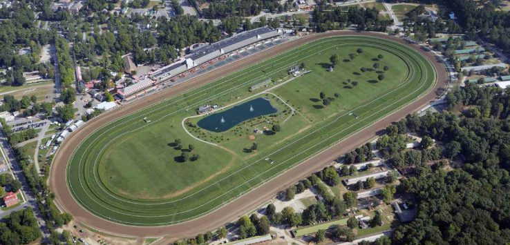 aerial shot of racetrack